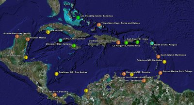 Caribbean CREWS Stations, actual and proposed