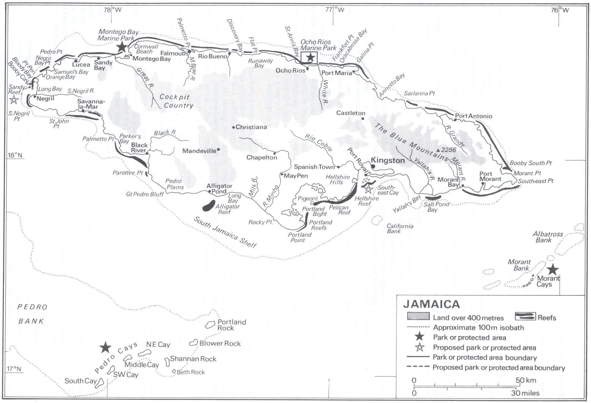 ジャマイカ島沿海の珊瑚礁を図示した地図